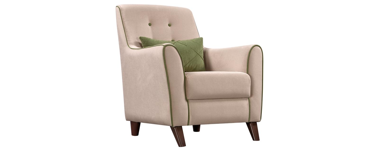 Кресло тканевое Френсис Velure бежевый/зеленая подушка