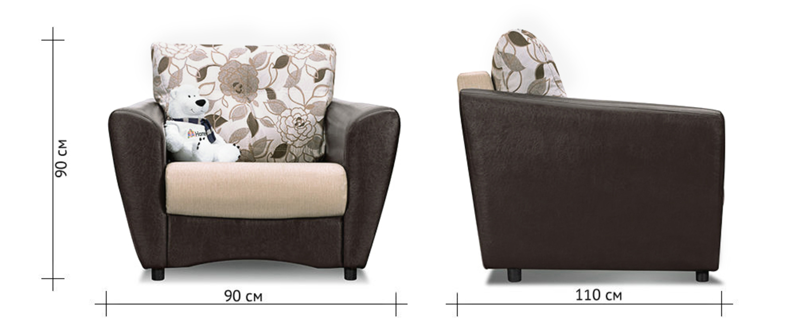 Кресло тканевое Амстердам Violet бежевый (Ткань + Экокожа) от HomeMe.ru