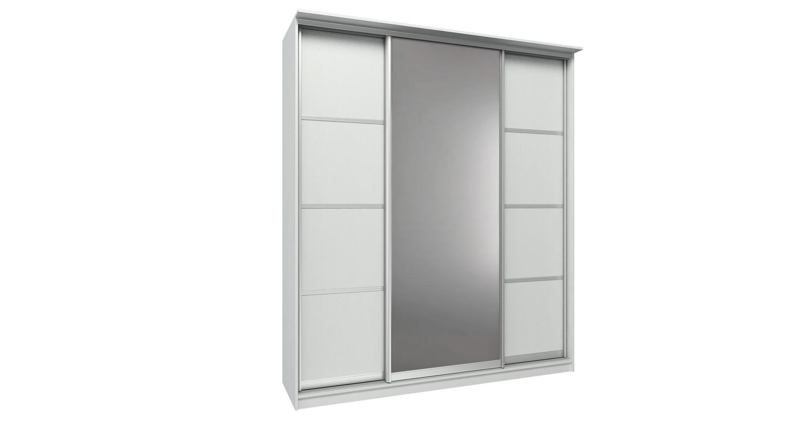 Шкаф-купе трехдверный Манчестер 205 см (белый+зеркало)