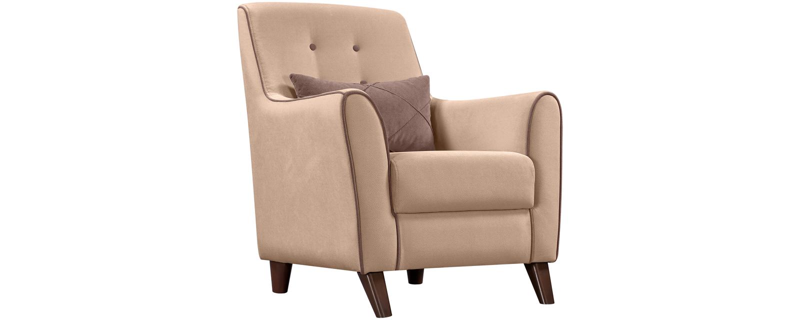 Кресло тканевое Френсис Velure бежевый/коричневая подушка