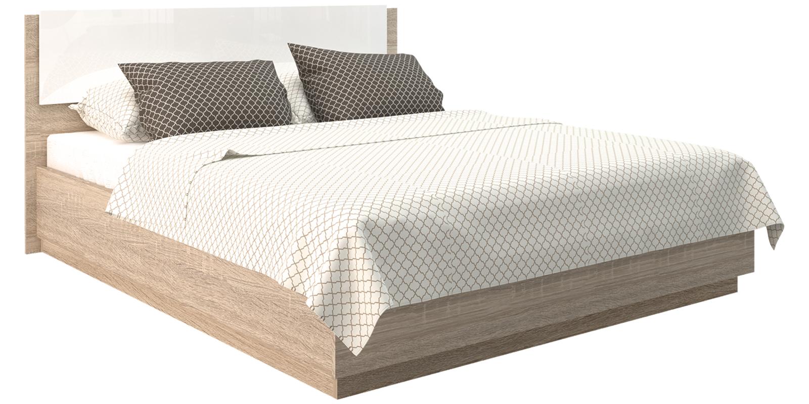 Кровать каркасная Матрица с подъемным механизмом (Дуб сонома/Белый глянец)