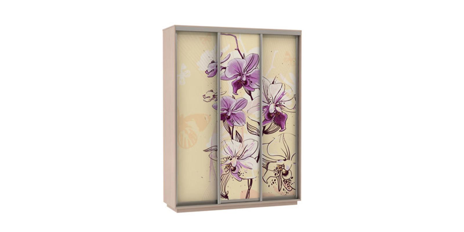 Шкаф-купе трехдверный Байкал 180 см (дуб молочный/орхидея)