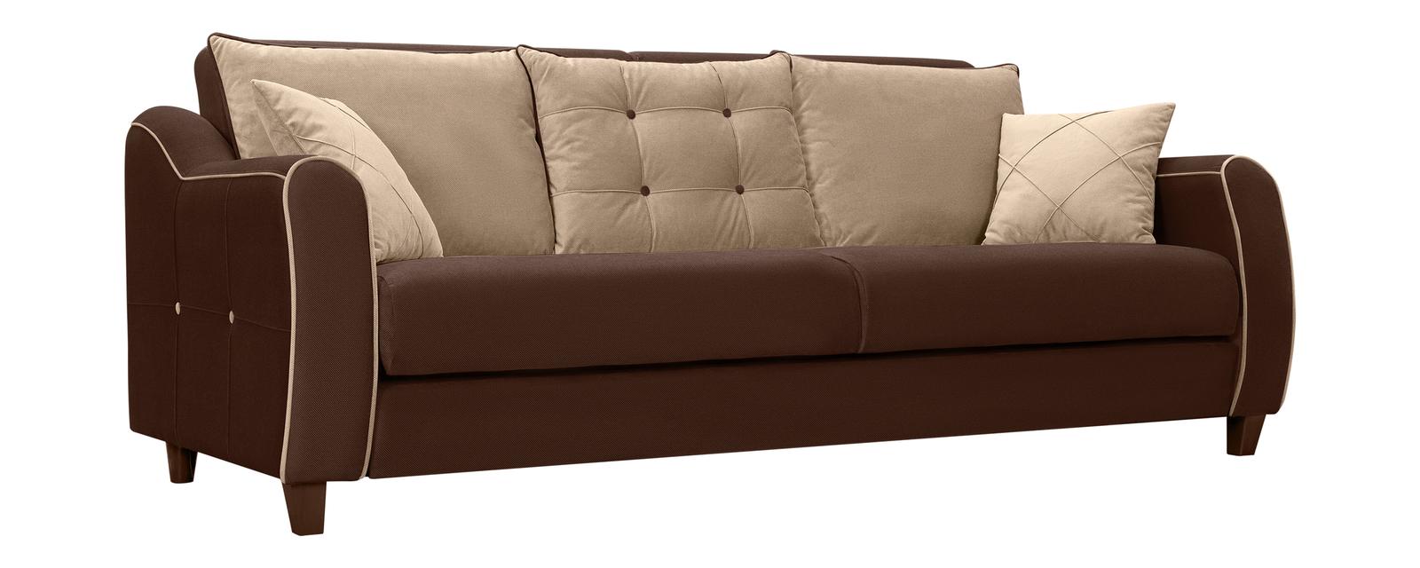 Диван тканевый прямой Френсис Elegance коричневый/бежевый (Ткань)