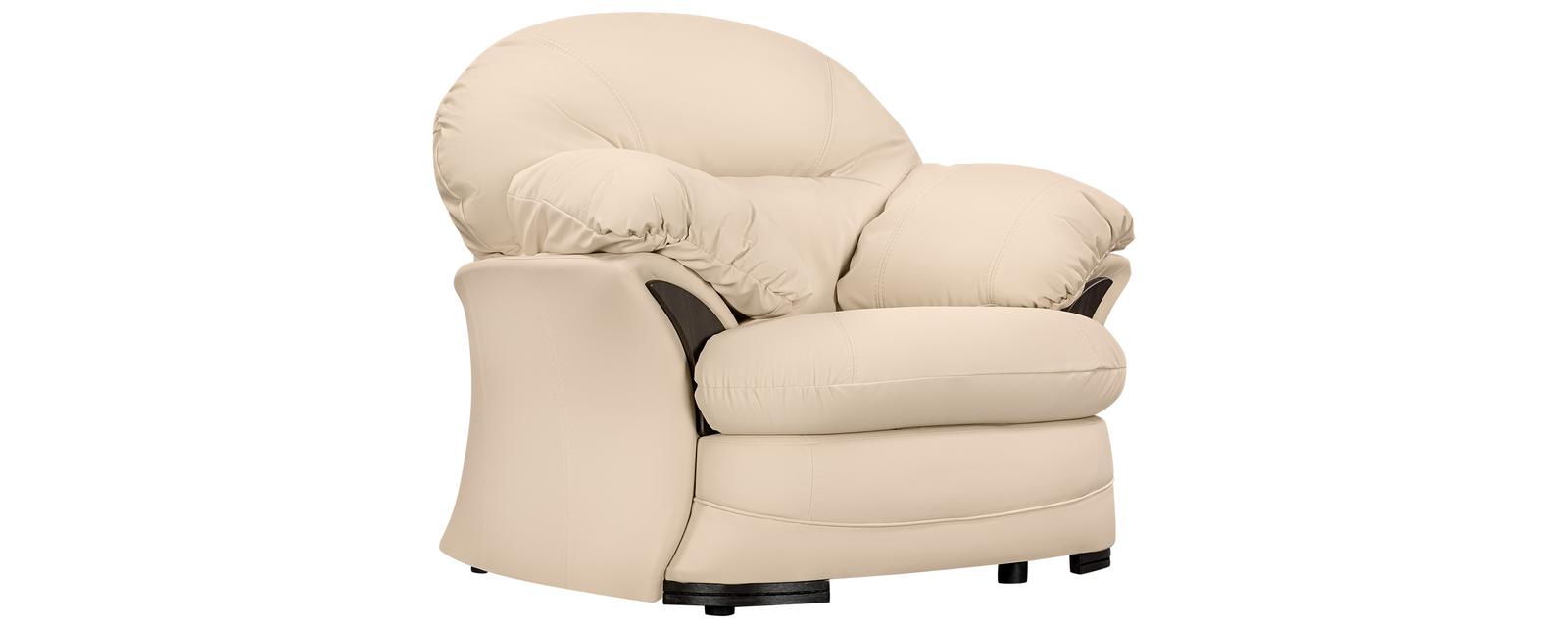 Кресло кожаное Ланкастер Бежевый (Натуральная кожа)
