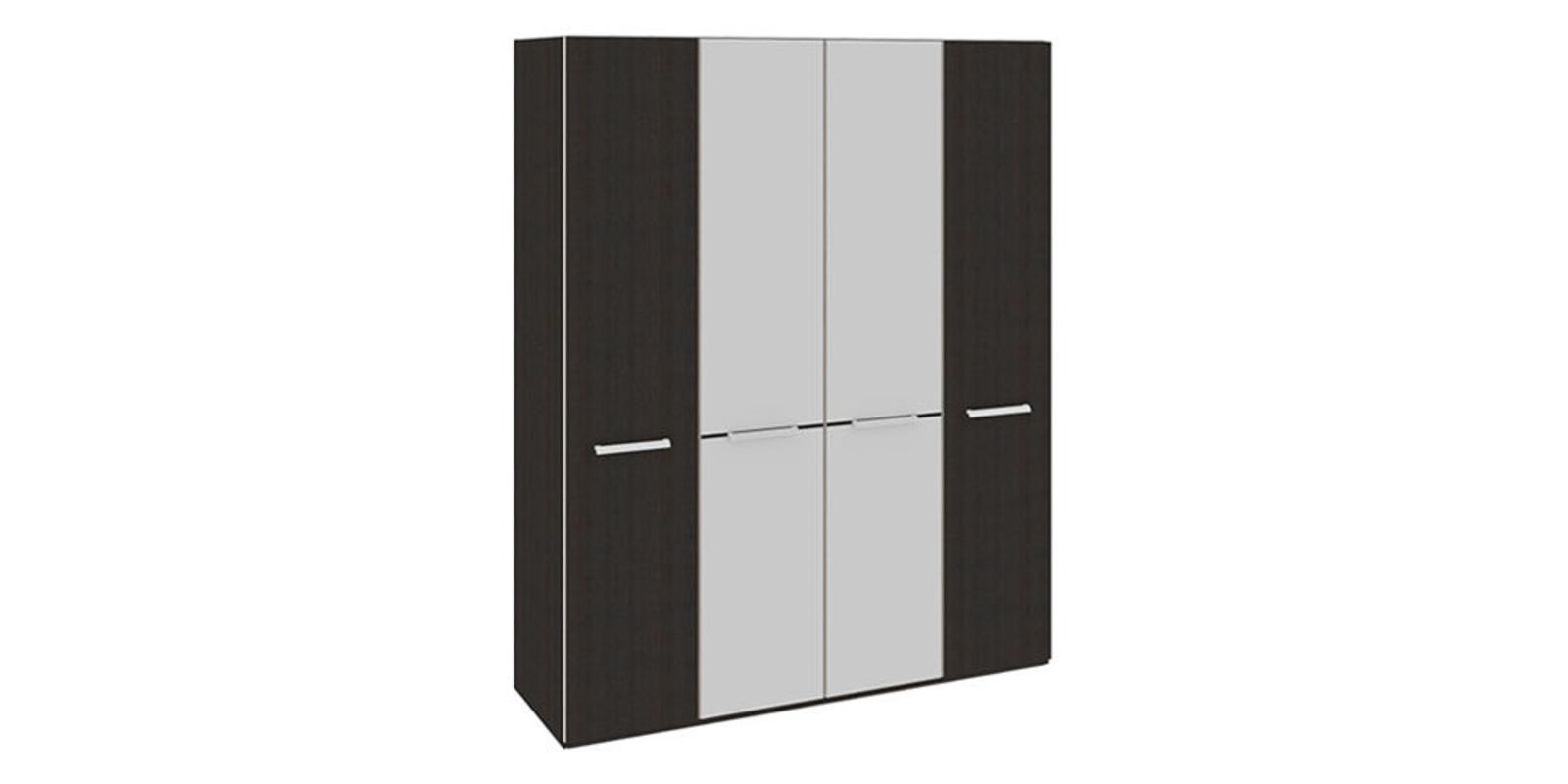 Шкаф распашной четырехдверный Калгари (дуб кастано/зеркало)