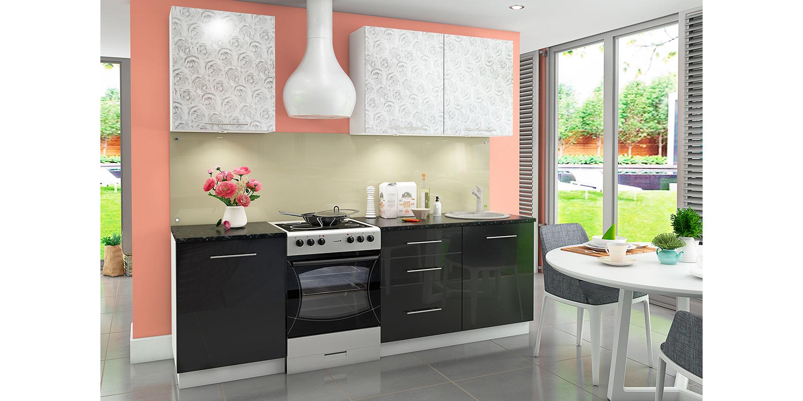 Кухонный гарнитур Чикаго 240 см (белый/азалия/антрацит)
