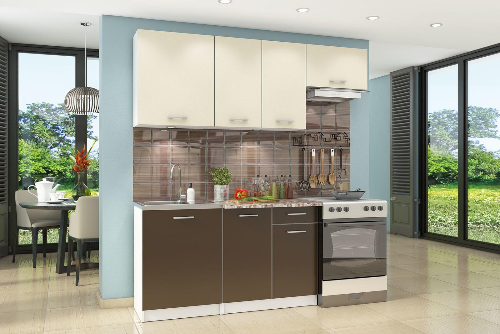 Кухонный гарнитур Юрмала 200 см (белый/кремовый/шоколад)