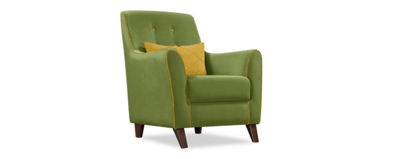 Кресло тканевое Френсис Velure зеленый/оливковая подушка
