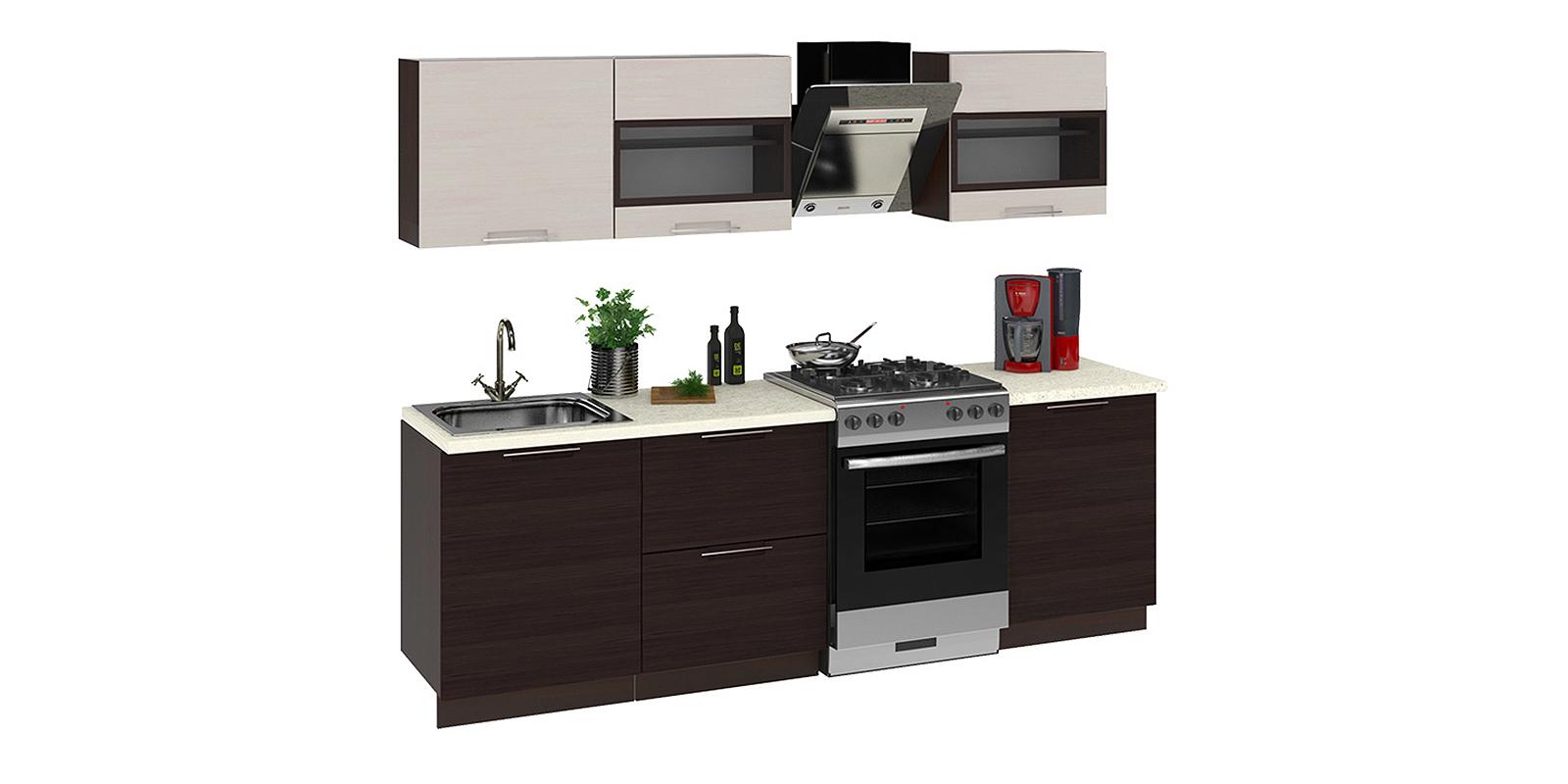 Кухонный гарнитур Мелани 240 см (коричневый)