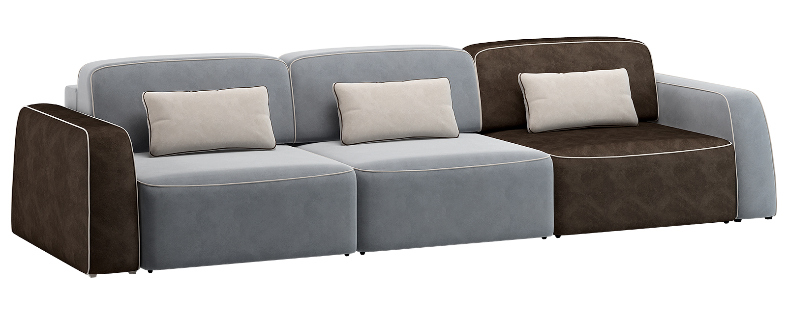 Модульный диван Портленд 300 см Вариант №2 Velutto серый/тёмно-коричневый (Велюр)