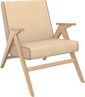 Кресло для отдыха Вест Натуральное дерево, ткань Verona Vanilla, кант Verona Brown