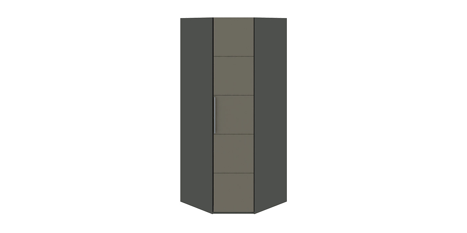 Шкаф распашной угловой Сорренто вариант №1 (темно-серый/серый)