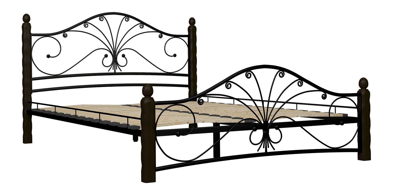 Металлическая кровать 160х200 Фортуна вариант №1 с ортопедическим основанием (черный/шоколад)