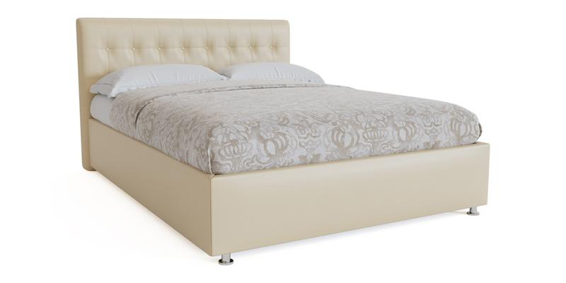 Мягкая кровать 200х180 Аделаида с подъемным механизмом (Крем-брюле)