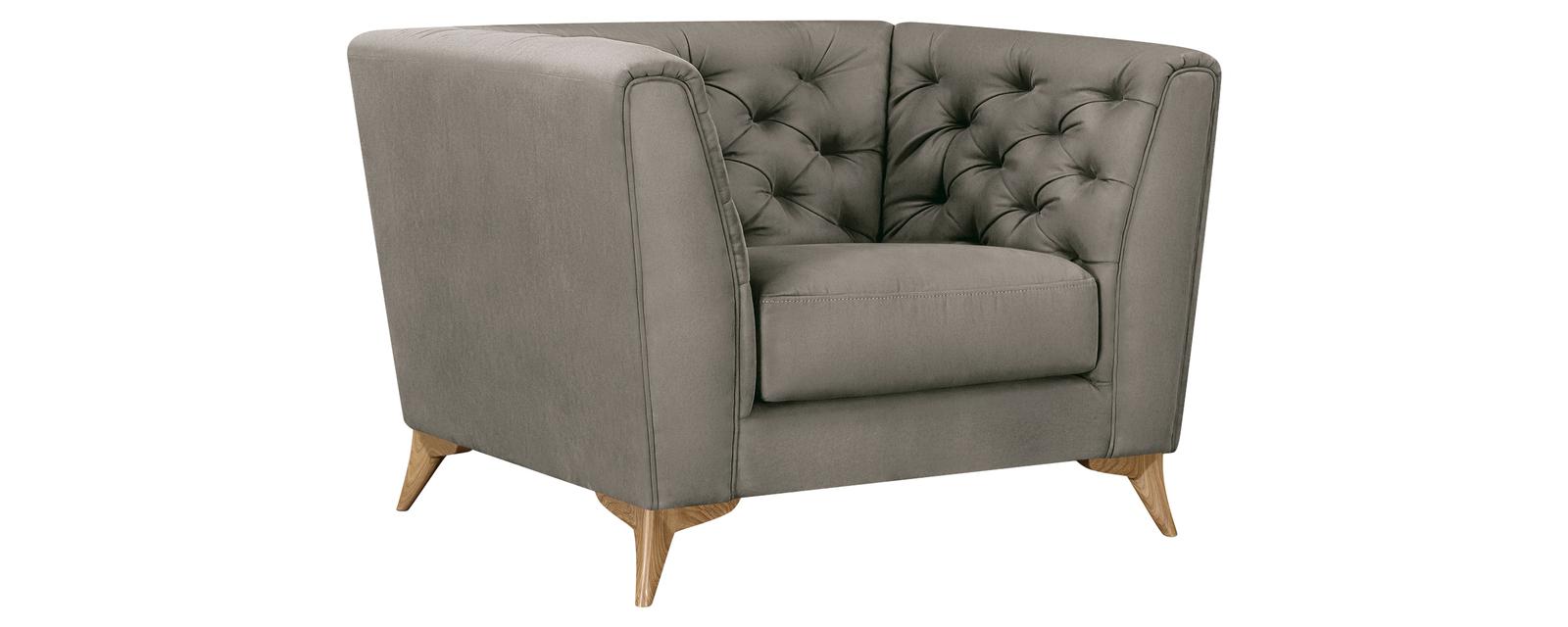 Кресло тканевое Честер Fulton серый (Искусственная замша)