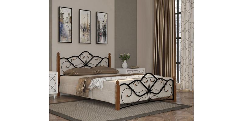 Металлическая кровать 160х200 Венера вариант №1 с ортопедическим основанием (черный/махагон)