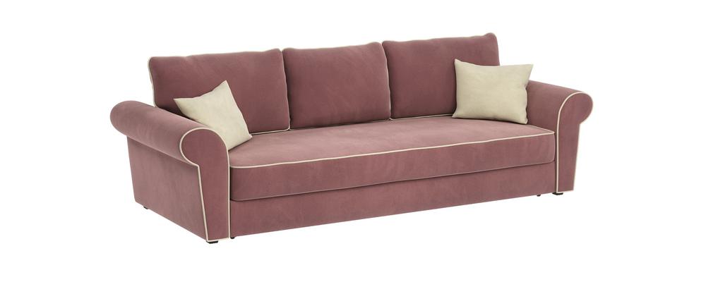 Диван тканевый прямой Милфорд Grace розово-серый (Велюр)