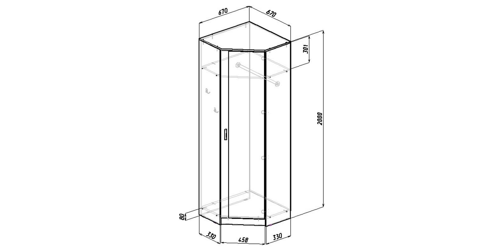 Шкаф распашной угловой Хельга вариант №2 (белый)