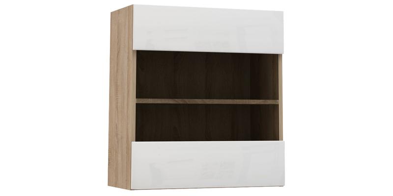 Шкаф навесной Верона со стеклом (дуб сонома/белый глянец)