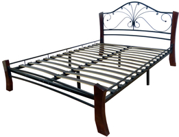 Кровать Фортуна 4 Лайт /160*200/Металл/Черный/Шоколад/