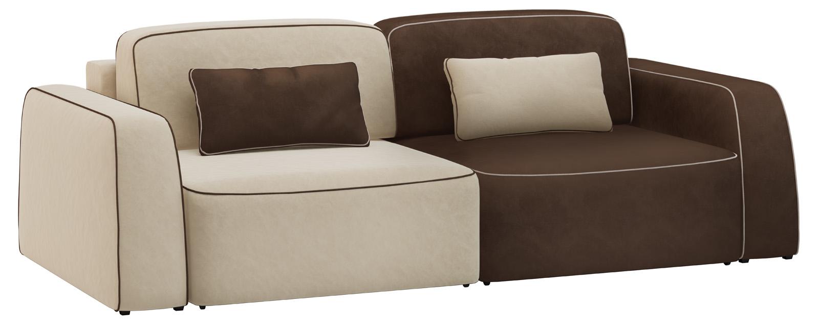 Модульный диван Портленд 200 см Вариант №2 Velure бежевый/темно-коричневый (Велюр) от HomeMe.ru