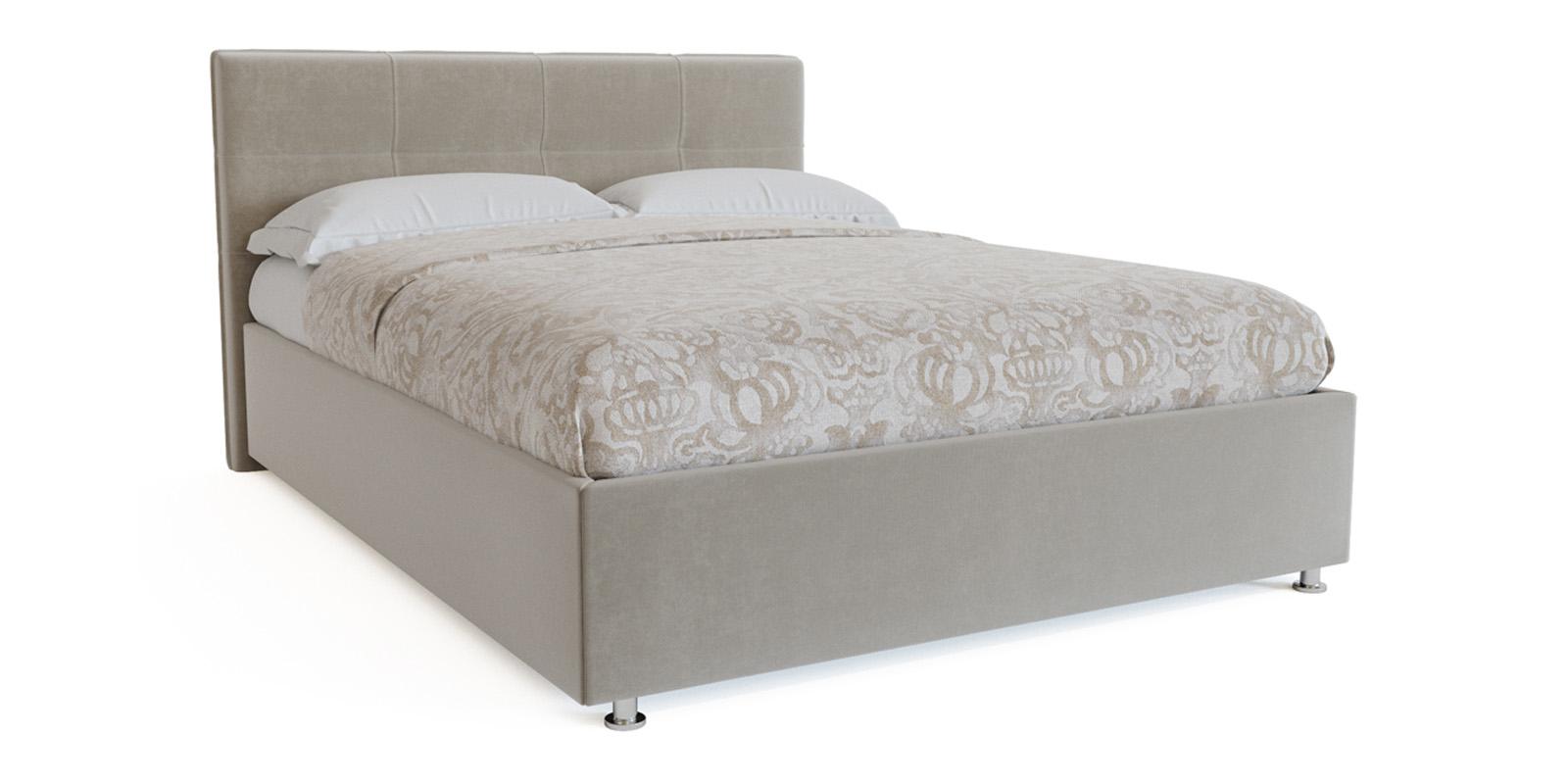Купить Мягкая кровать 200х160 Неаполь с ортопедическим основанием (Светло-серый), HomeMe