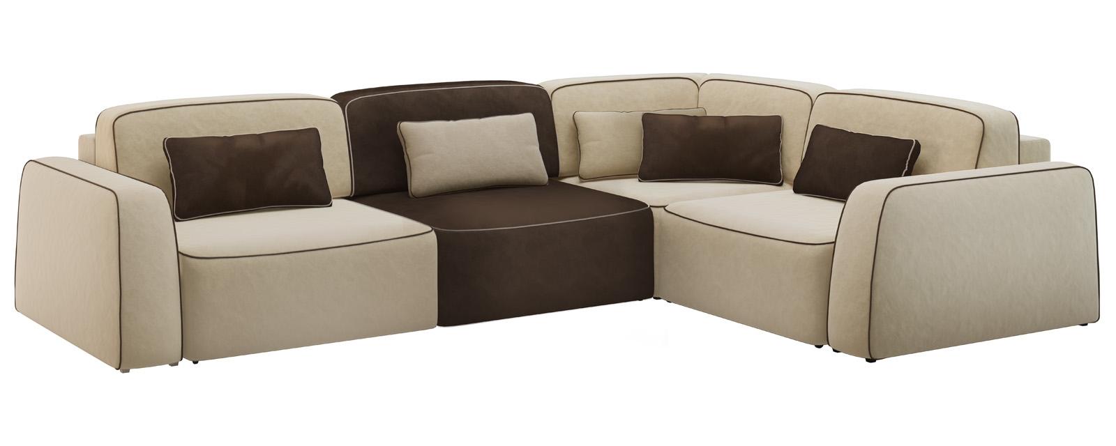 Модульный диван Портленд 350 см Вариант №3 Velure бежевый/темно-коричневый (Велюр)