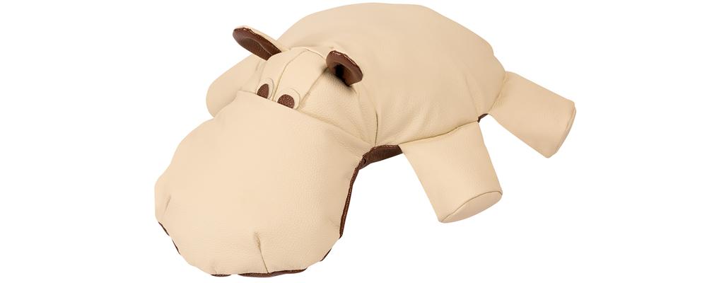 Декоративная подушка Бегемот Бежевый (Кожаное изделие)