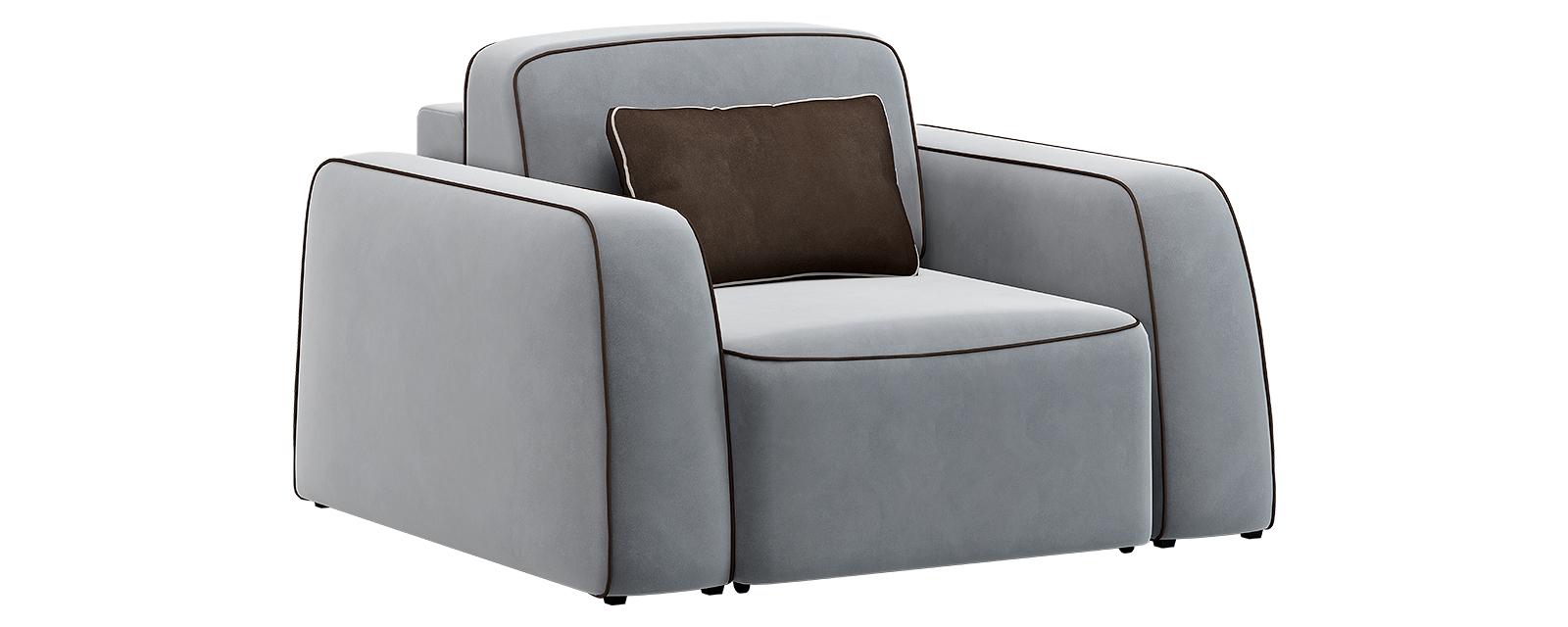 Кресло тканевое Портленд 80 см Velutto серый/тёмно-коричневый (Велюр)
