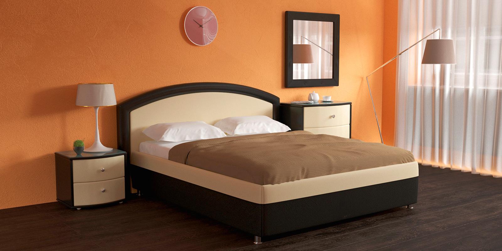 Купить Мягкая кровать 200х160 Малибу вариант №8 с ортопедическим основанием (Бежевый/Шоколад), HomeMe