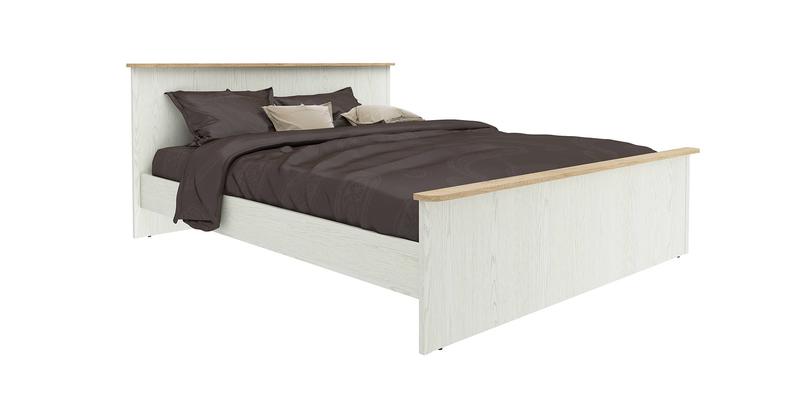 Кровать каркасная 200х160 Эстель без подъемного механизма (дуб небраска/белый)