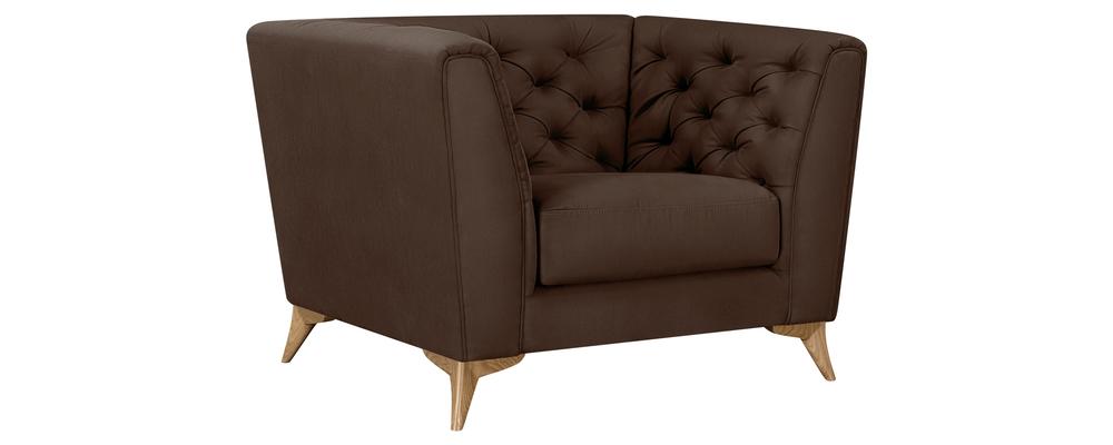 Кресло тканевое Честер Fulton коричневый (Искусственная замша)
