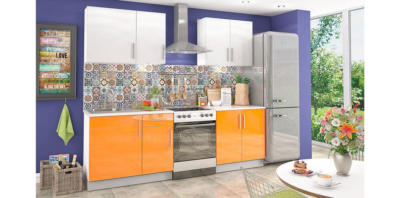 Кухонный гарнитур Версаль 180 см (оранжевый/белый)