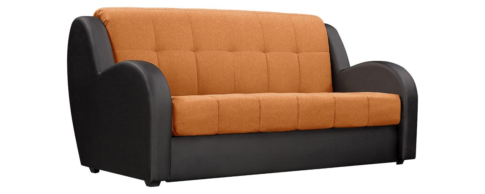 Диван тканевый прямой Барон Kiton оранжевый (Рогожка + Экокожа)