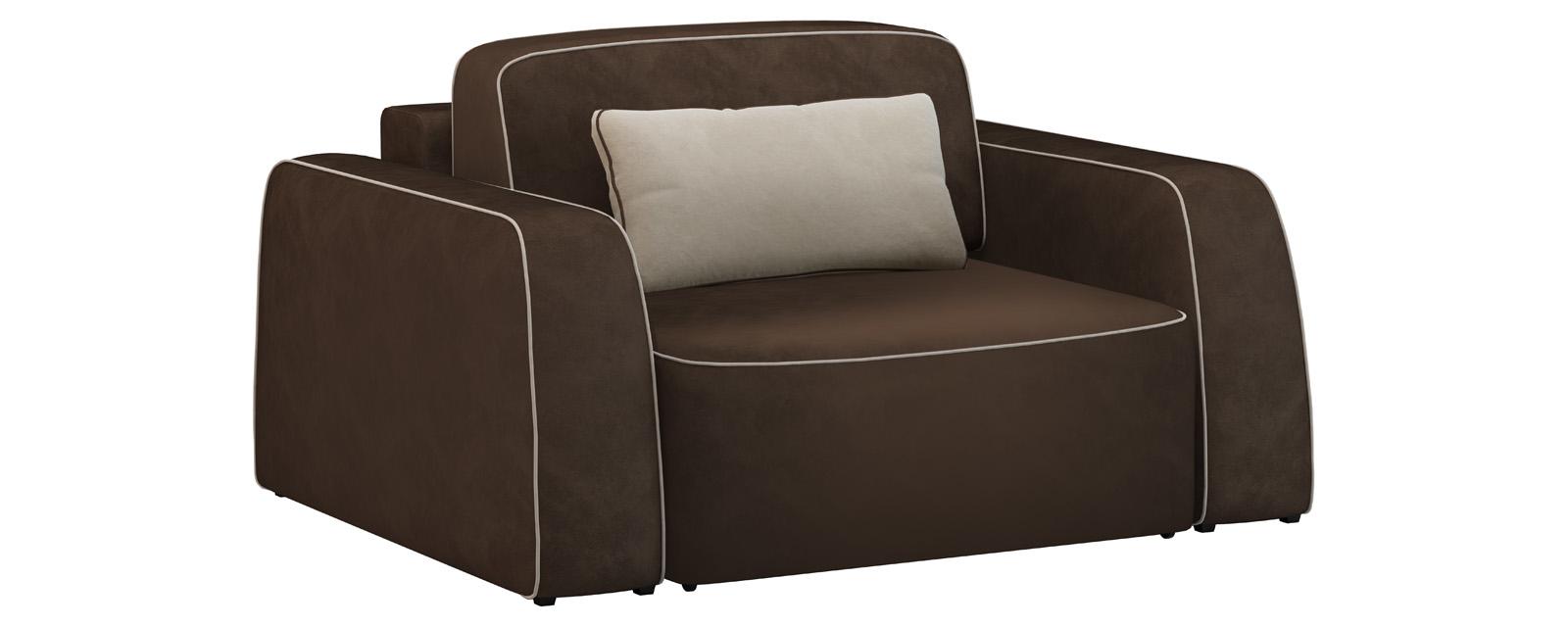 Кресло тканевое Портленд 100 см Velure темно-коричневый/бежевый (Велюр) от HomeMe.ru