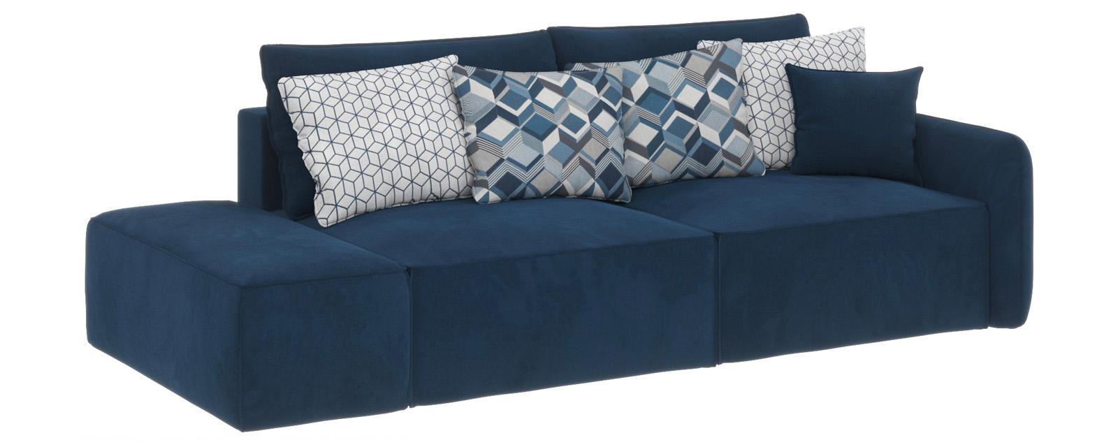 Купить Модульный диван Портленд вариант №2 Soft тёмно-синий (Вел-флок), HomeMe, Тёмно-синий