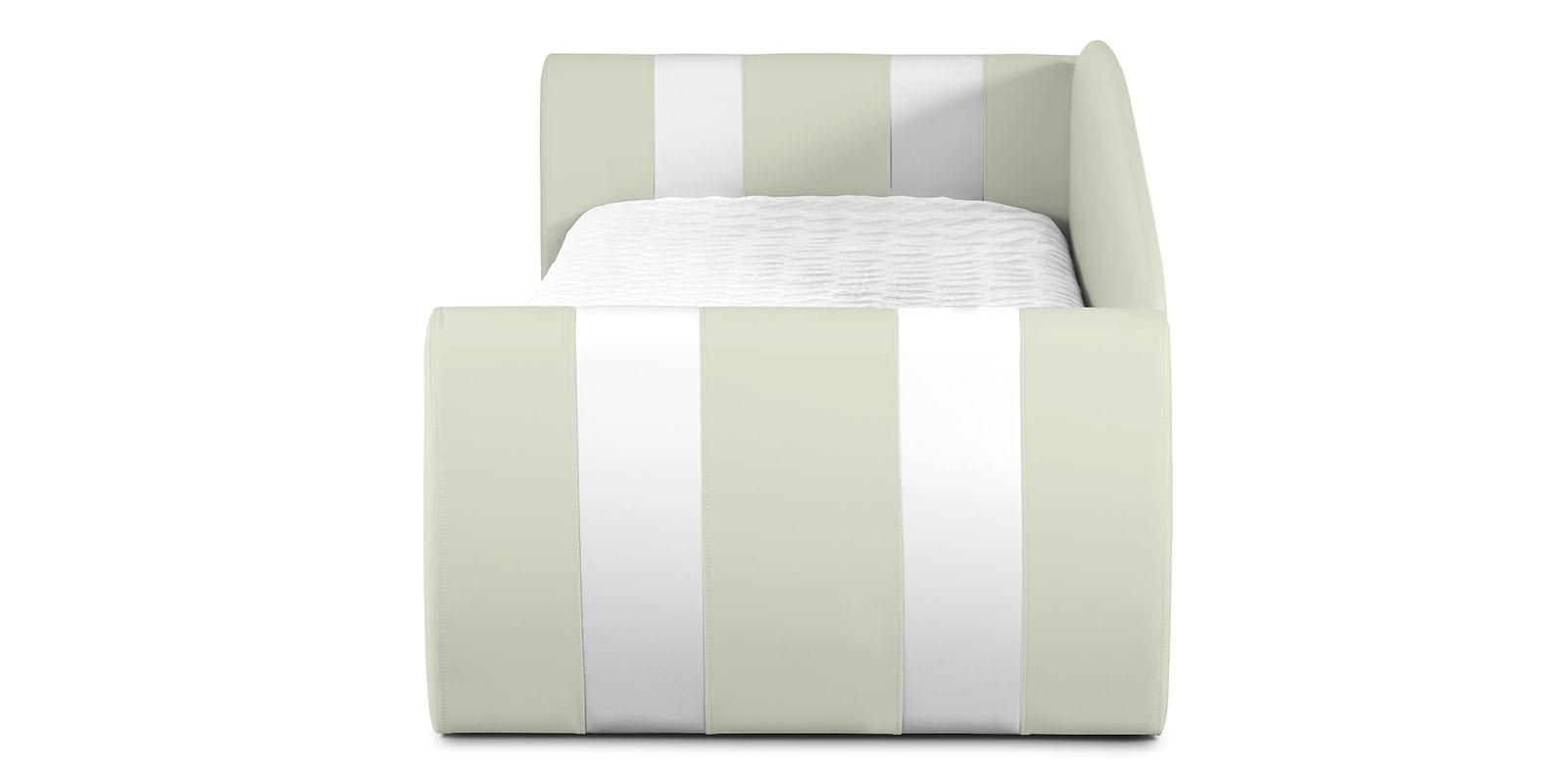 Мягкая кровать 190х90 Монако угол правый (молочный/белый) от HomeMe.ru