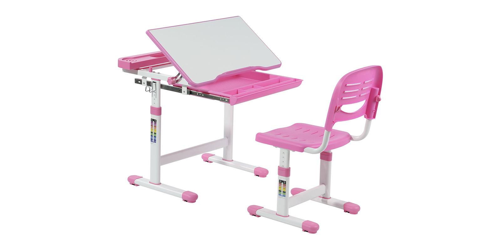 Детская парта Cantare комплект парта + стул (белый/розовый)