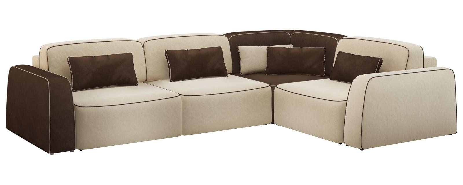 Модульный диван Портленд 350 см Вариант №2 Velure бежевый/темно-коричневый (Велюр)