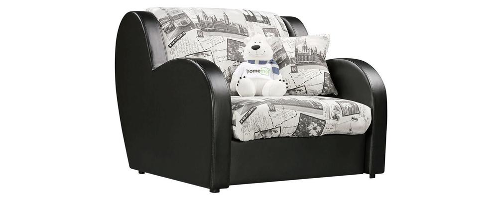 Кресло тканевое Барон Gazeta серый (Жаккард + Экокожа)