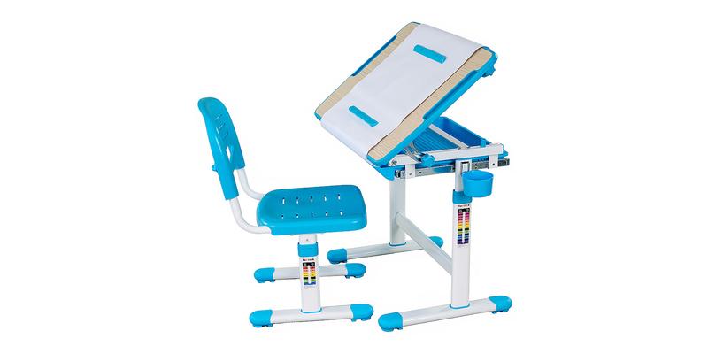 Детская парта Bambino комплект парта + стул (белый/голубой)