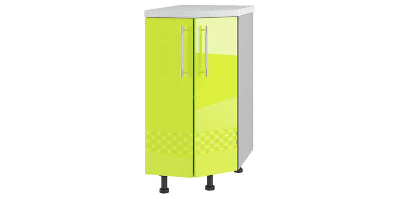 Кухонный напольный шкаф Тиара 40 см угловой (серый/лайм глянец, правый)