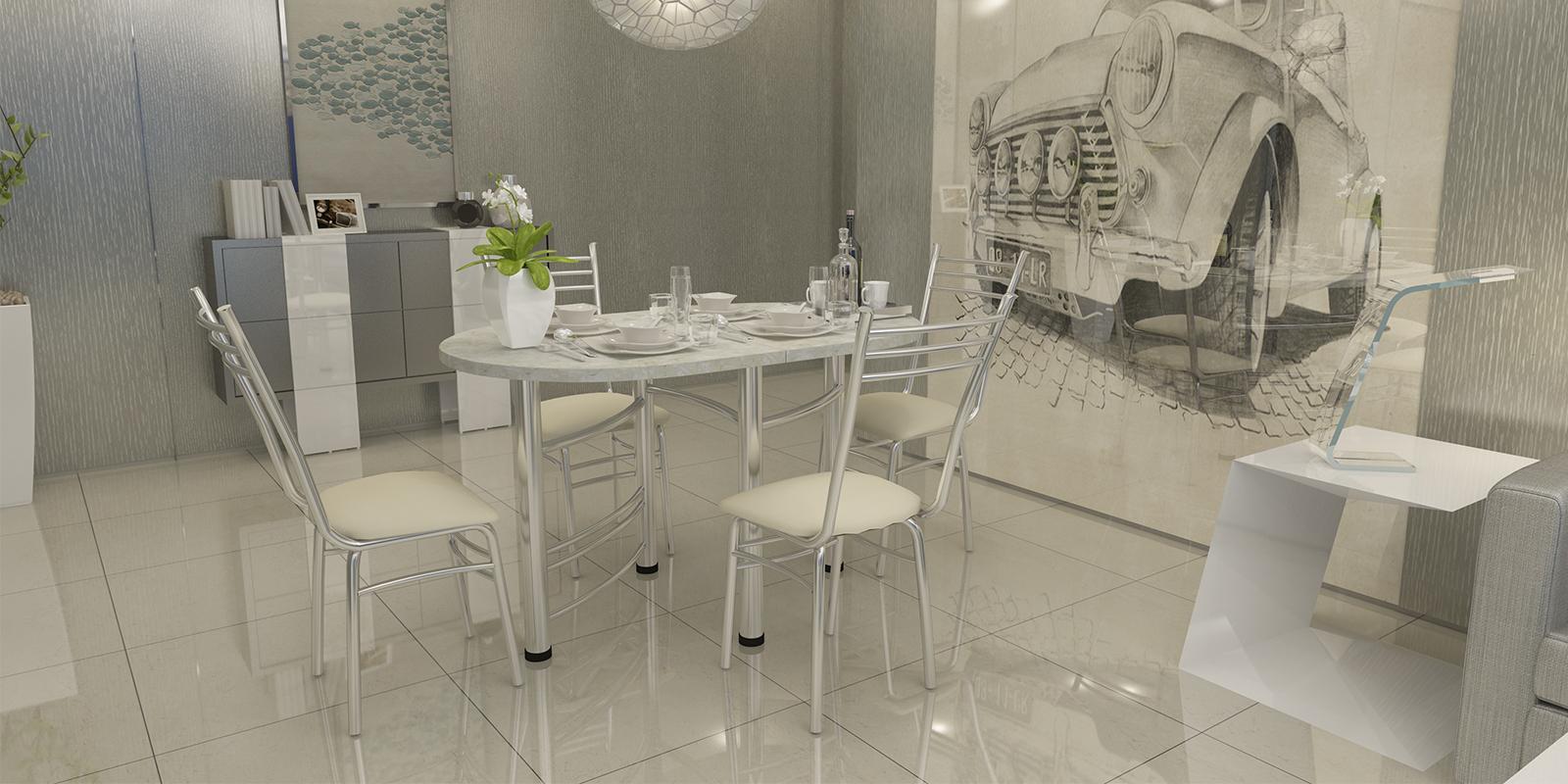 Стол обеденный Орион (мрамор/хром)