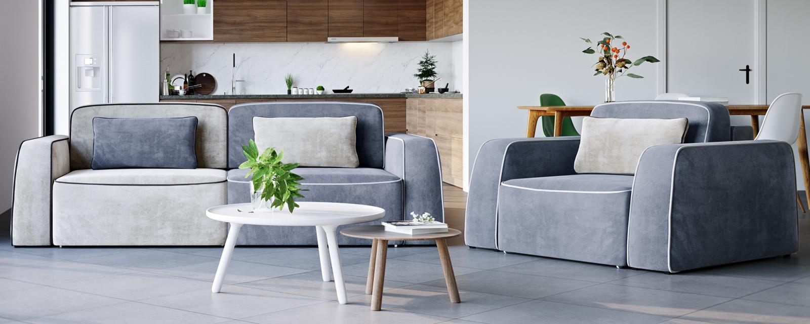 Кресло тканевое Портленд 100 см Velutto серый/бежевый (Велюр) от HomeMe.ru