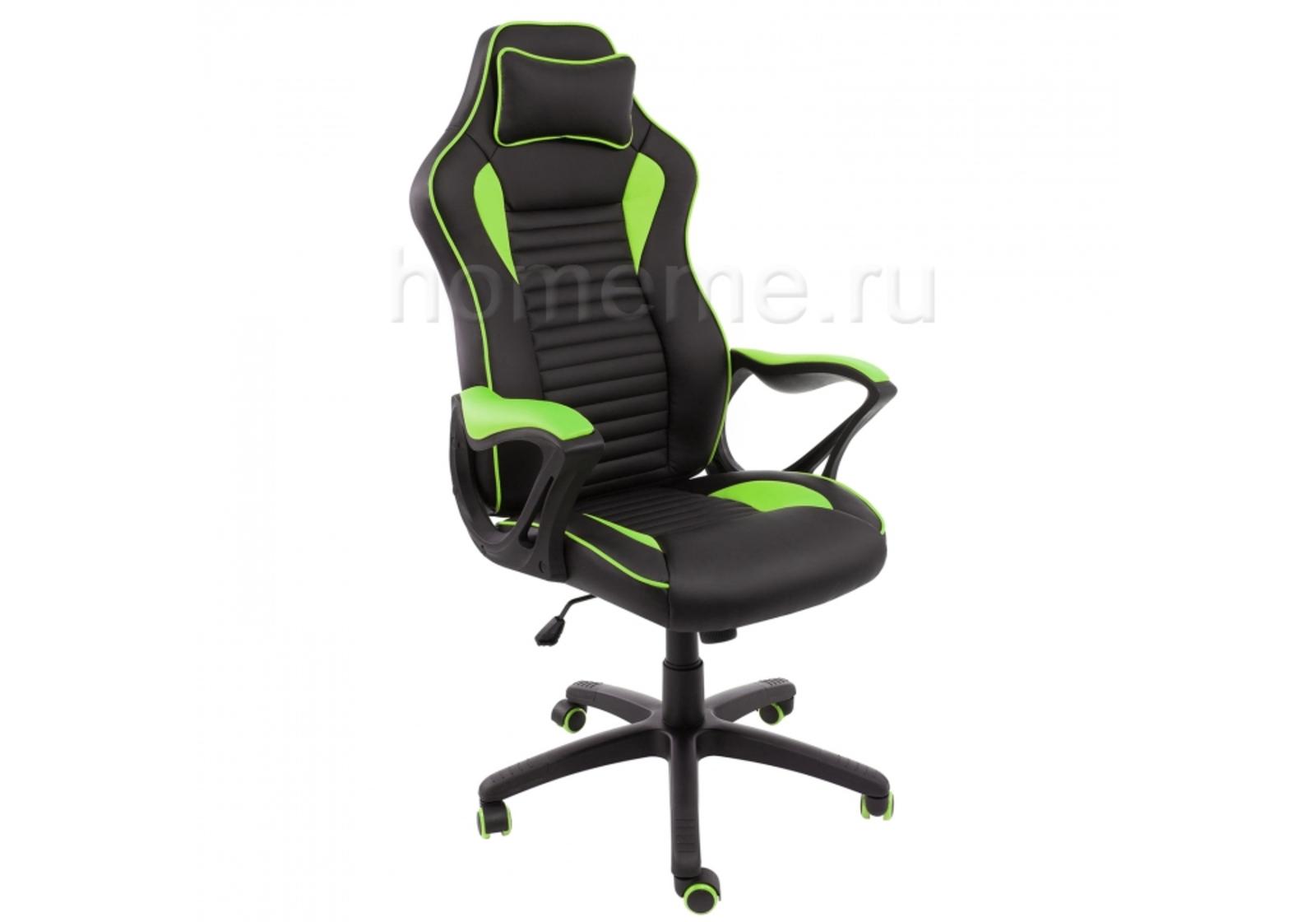 Кресло для офиса HomeMe Leon черное / зеленое 1877 от Homeme.ru