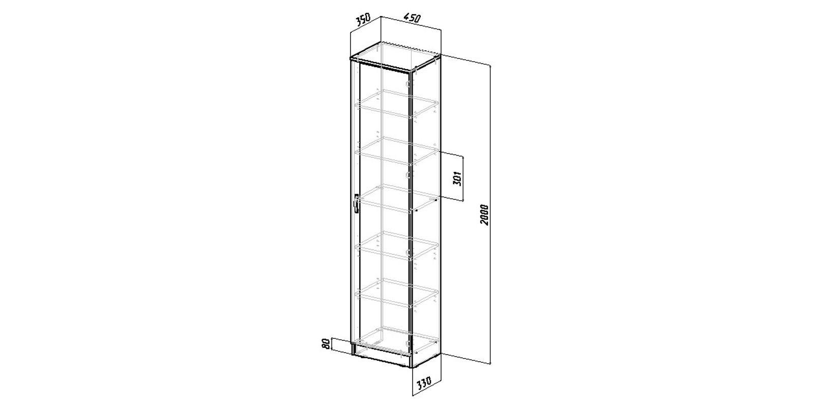 Шкаф распашной однодверный Хельга вариант №2 (белый)