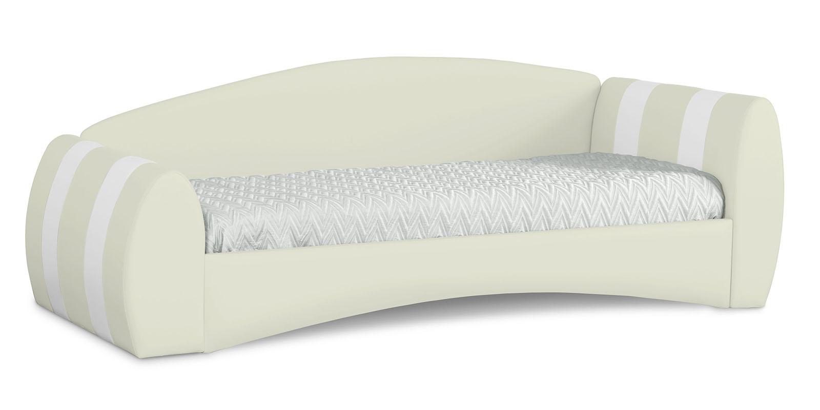 Кровать мягкая 190х90 Монако угол правый (молочный/белый)