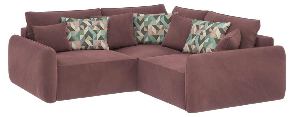 Модульный диван Портленд вариант №6 Grace розово-серый (Велюр)