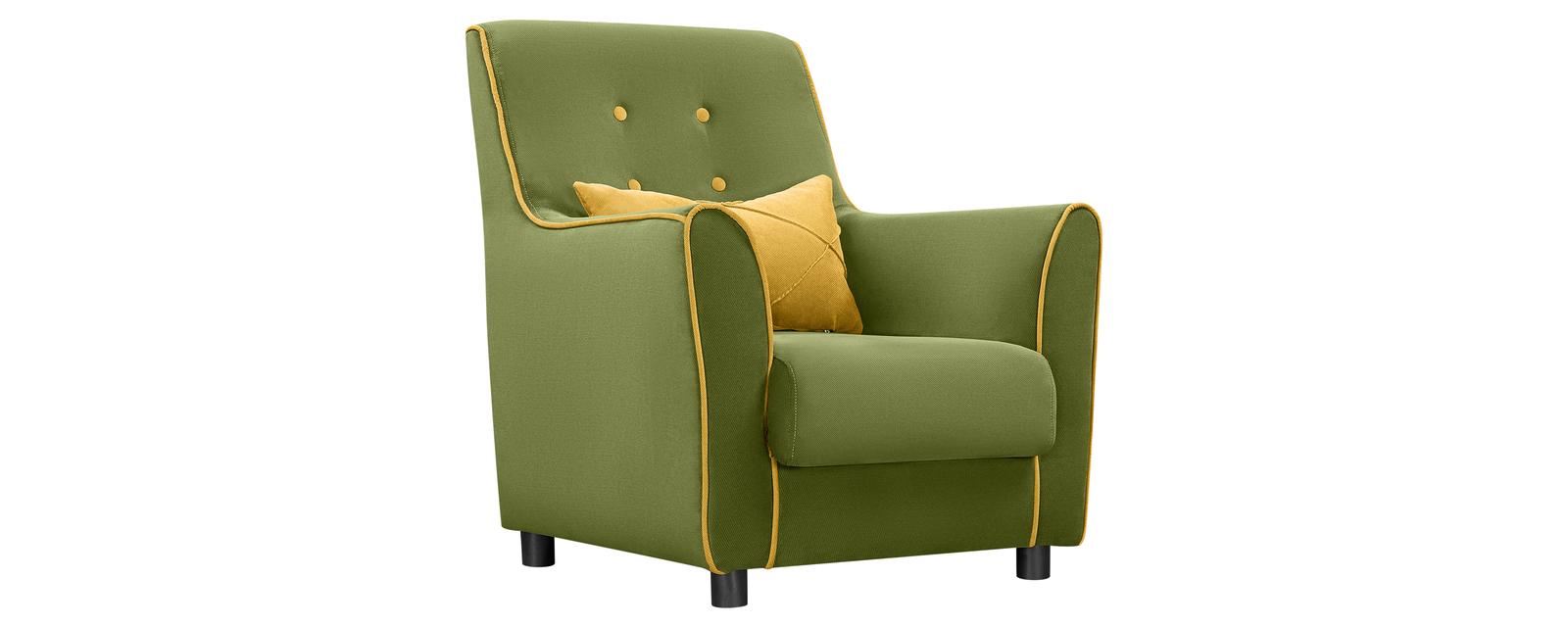 Кресло тканевое Флэтфорд Elegance зеленый/желтый (Микровелюр)
