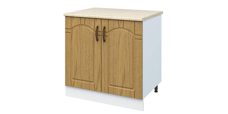 Кухонный напольный шкаф Гавана 80 см (белый/дуб коричневый)